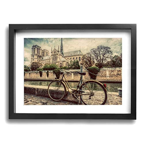 Janvonne Notre Dame Cathedral Paris Canvas Wall Art Decor Framed Oil Paintings Pictures Modern Decorations for Living Room Bedroom Bathroom Home Decor
