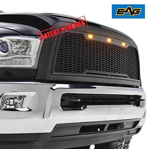 EAG Replacement ABS Upper Grille Front Hood Grill - Matte Black - with Amber LED Lights Fit for 13-17 Dodge Ram 2500/3500 Heavy Duty