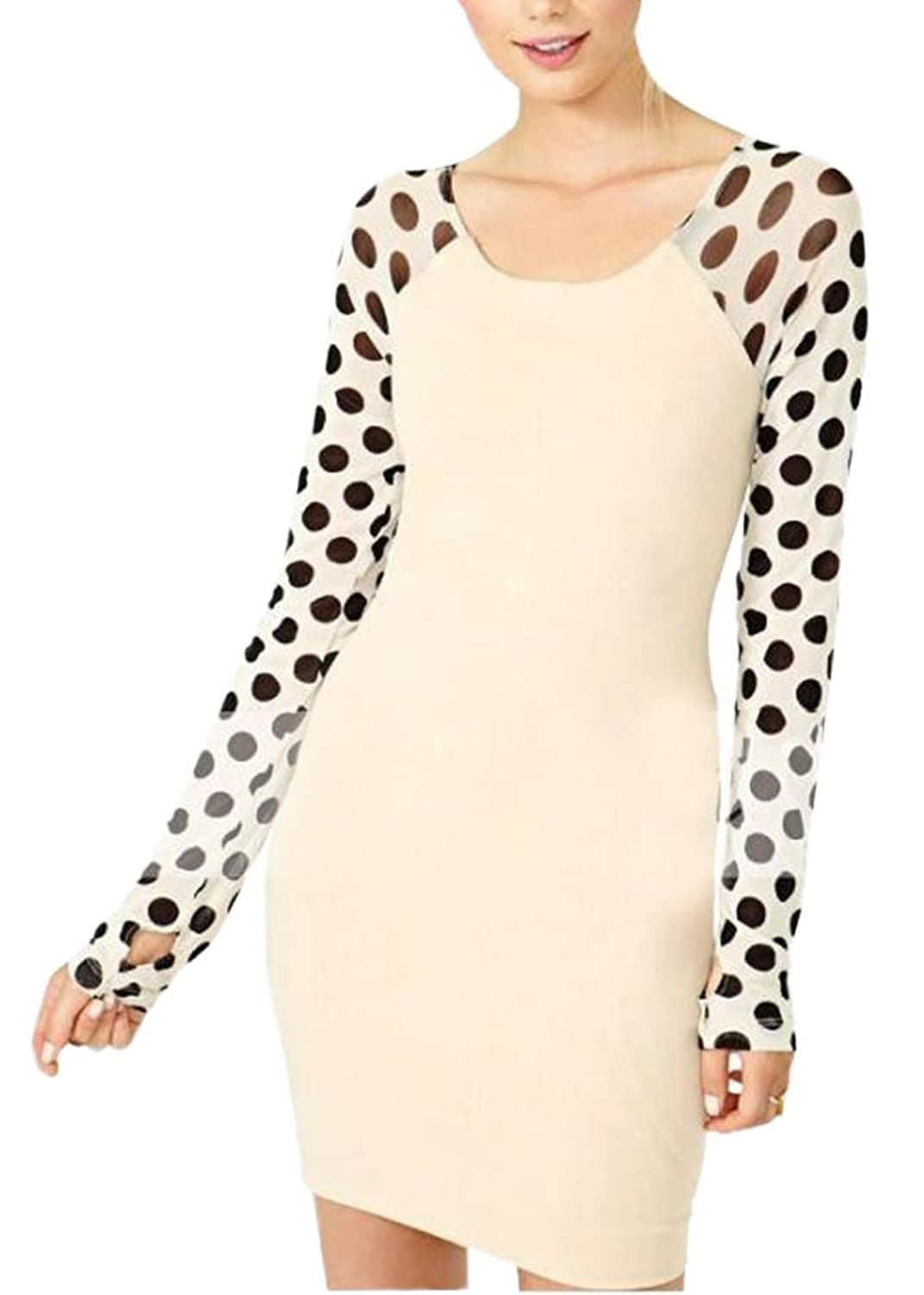 OUCHI Women Polka Dotted Long Sleeve Slim Fit Dress Crew Neck Bottoming Dress