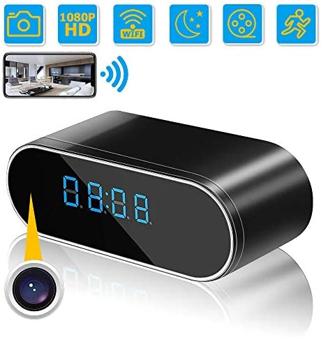 Hidden Camera Clock, WiFi Wireless Hidden Camera,1080P Nanny Cameras and Hidden Cameras with Night Vision and Motion Detective, Perfect 150 Angle Camera Clock for Home and Office Real-Time Viewing