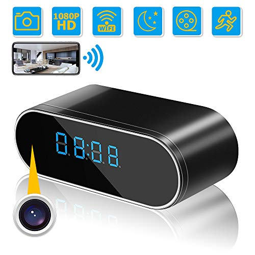 Hidden Camera Clock, WiFi Wireless Hidden Camera,1080P Nanny Cameras and Hidden Cameras with Night Vision and Motion Detective, Perfect 140 Angle Camera Clock for Home and Office Real-Time Viewing