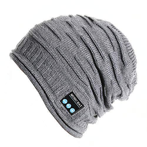 PRETTYGARDEN Unisex Wireless Slouchy Headphone Beanie Hat, Music Winter Warm Knit Hat Cap w Built in Mic and Wireless Headset