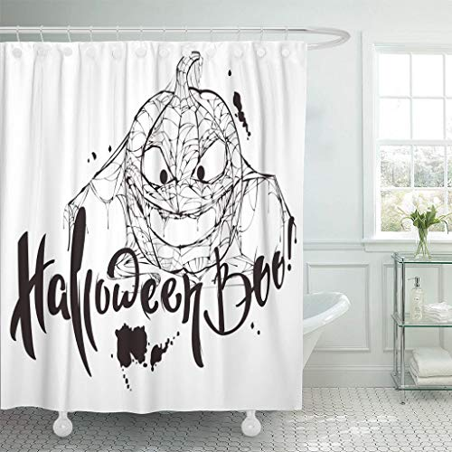 Emvency Fabric Shower Curtain Curtains with Hooks Black Halloween Boo Text Pumpkin Spider Silhouette Makes White for Blotch Calligraphy Cobweb Greeting 66
