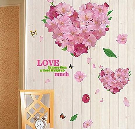 Amazon.com: Mr.S Shop Warm Romantic Pink Flower Love DIY Removable ...