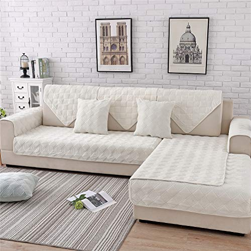 OstepDecor Quilted Furniture Protector for Sofa, Loveseat, Recliner, Chair | Couch Slipcover for Pets & Kids | ONE Piece | Backing and Armrest Sold Separately | Cream 36