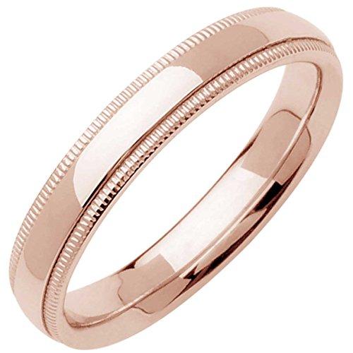 (14K Rose Gold Traditional Milgrain Edge Men's Comfort Fit Wedding Band (4mm))