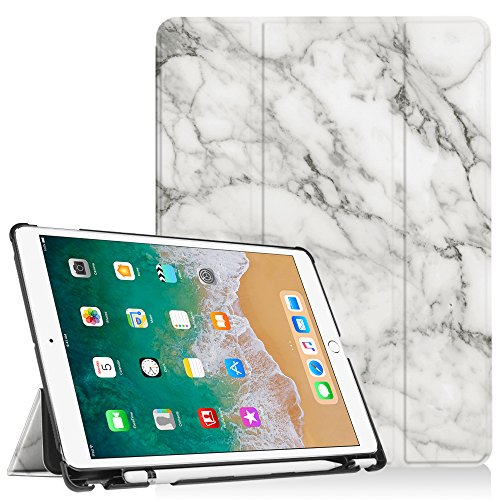 Fintie iPad Pro 10.5 Case with Built-in Apple Pencil Holder - [SlimShell] Ultra Lightweight Standing Protective Cover with Auto Wake/Sleep for Apple iPad Pro 10.5 Inch 2017 Tablet, Marble White