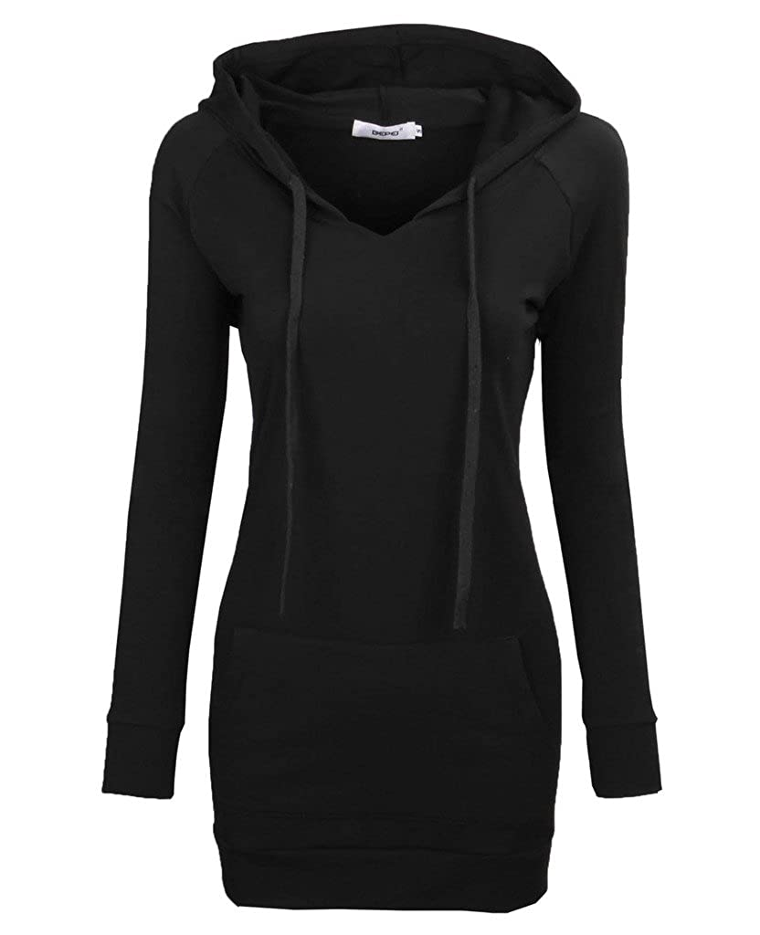 8df2bb0a BEPEI Womens Long Sleeve Tunic Hoodies String Sweatshirts with Pockets at  Amazon Women's Clothing store: