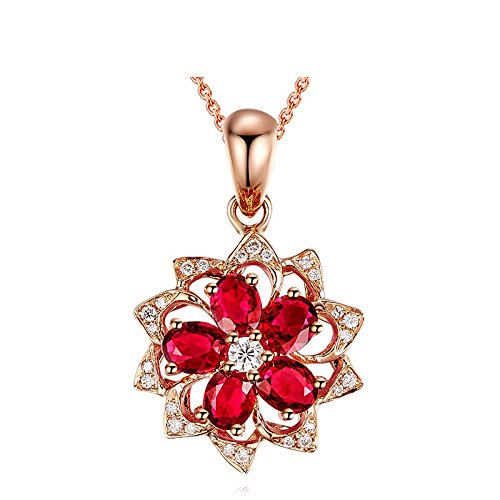 - TKHNE Hot explosion models Fashion Jewelry 925 silver necklace pendant rose gold diamond gem sunflowers women girls jewelry