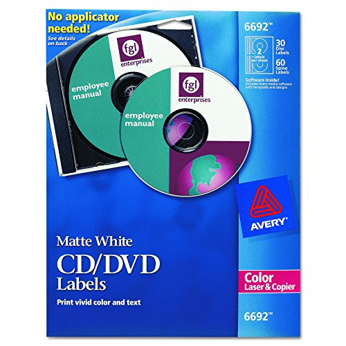 Disk Label Template (Avery 6692 CD/DVD Labels for Color Lasers, 30 Disc Labels & 60 Spine Labels)