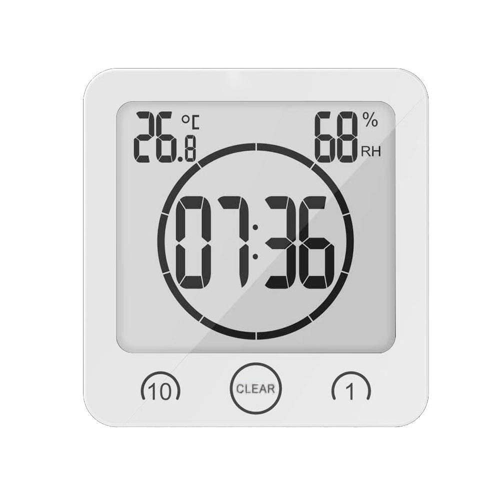 Homa Shower Clock, Waterproof Digital Bathroom Clock Shower Timer Digital Clock Timer Suction Cup With Alarm, Touch Screen Timer, Temperature Humidity Display (White)