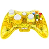 Kycola GC21  Transparent Wireless Controller xbox 360, Dual Vibration LED Xbox Controller For  Microsoft Xbox 360 / PC(Yellow)