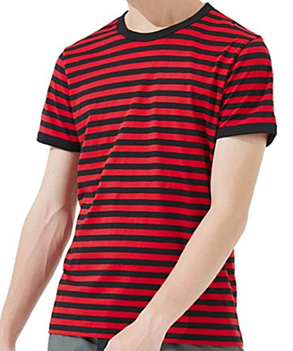 Ezsskj Men's Youth Short Sleeve Crew Neck Striped T Shirt Tee red and Black -