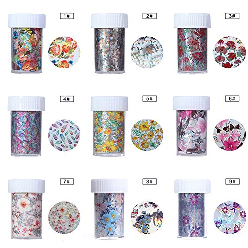 NICOLE DIARY Holographic Nail Foil Colorful Flower Manicure Nail Art Transfer Sticker 9 Rolls 4x100cm (set 1)