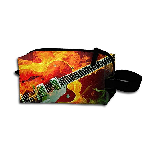 Makeup Cosmetic Bag Electric Rockabilly Guitar Fire Zip Travel Portable Storage Pouch For Men Women -