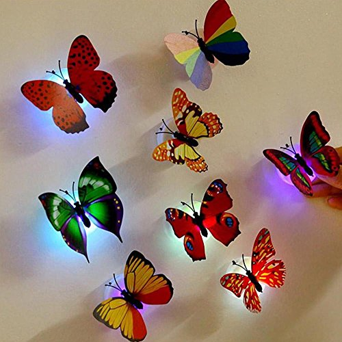 1 Pcs Wall Stickers Butterfly LED Lights Wall Stickers Colorful Light 3D Simulation butterfly Luminous Wall stickers House Kid Bedroom Decoration (random) -
