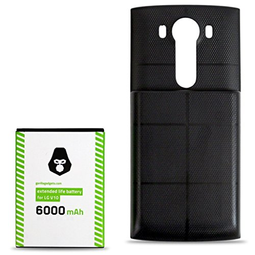 LG V10 Extended Battery (6000mAh) High Capacity Replacement Phone Battery for LG V10 (Black) by Gorilla Gadgets
