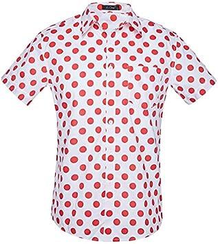 LFNANYI Camisa Hawaiana de Lunares Rojos Hombres Verano Nuevo Tallas Grandes Camisas de Vestir de Manga Corta Camisa de Fiesta de Playa para Hombres XXL: Amazon.es: Deportes y aire libre