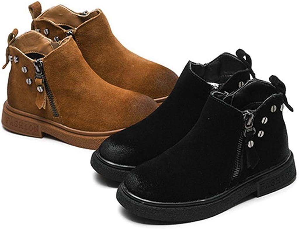 Fashion Shoebox Toddler Girls Winter Ankle Boots Suede Warm Low Heel Winter Side Zip Outdoor Shoes Boys Waterproof Short Booties