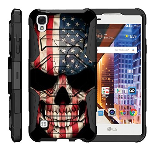 TurtleArmor | Compatible with LG Tribute HD Case | LG Volt 3 | LG X Style [Octo Guard] Dual Layer Case Holster Belt Clip Sturdy Kickstand Cover - US Flag Skull (Skull Cover Volt Lg)