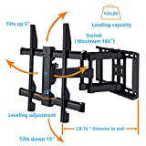 TV Wall Mount Bracket Full Motion Dual Articulating Arm for most 37-70 Inch LED, LCD, OLED, Flat Screen,Plasma TVs up to 120lbs VESA 600x400mm with Tilt, Swivel and Rotation HDMI Cable by PERLESMITH