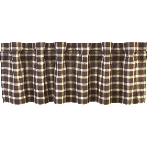 VHC Brands Rustic & Lodge Farmhouse Kitchen Window Curtains - Rory Brown Valance, 16x60,
