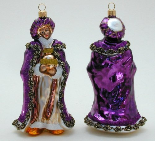 A Bit of Britain Wiseman with Gift - Purple Cloak - Polish Glass Christmas ()