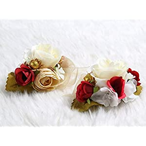 Charming Flower Boutonniere Pins for Wedding prom (2pcs) (Red theme) 96