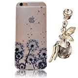 Apple iPhone 6 6s 4.7 inch Colorful Printing Painting Case,Vandot Premium Ultra Slim Perfect Fit Protective Pattern Clear Soft TPU Silicone Transparent Back Cover+Bling Crystal Angel Anti Dust Plug-Dandelion