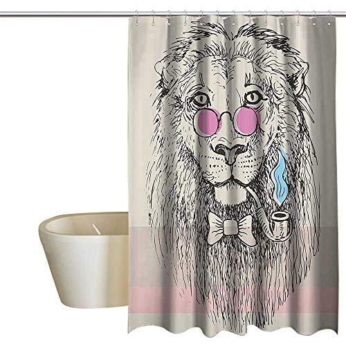 SKDSArts Shower Curtains Nature Picture Animal,Magestic Lion Head Hipster Style Glasses Pipes Sketch Print,Beige Black Baby Blue Light Pink 60
