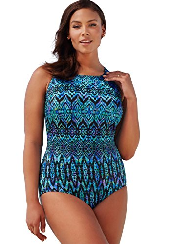 Jessica London Women's Plus Size High Neck Swimsuit Euphoria,16