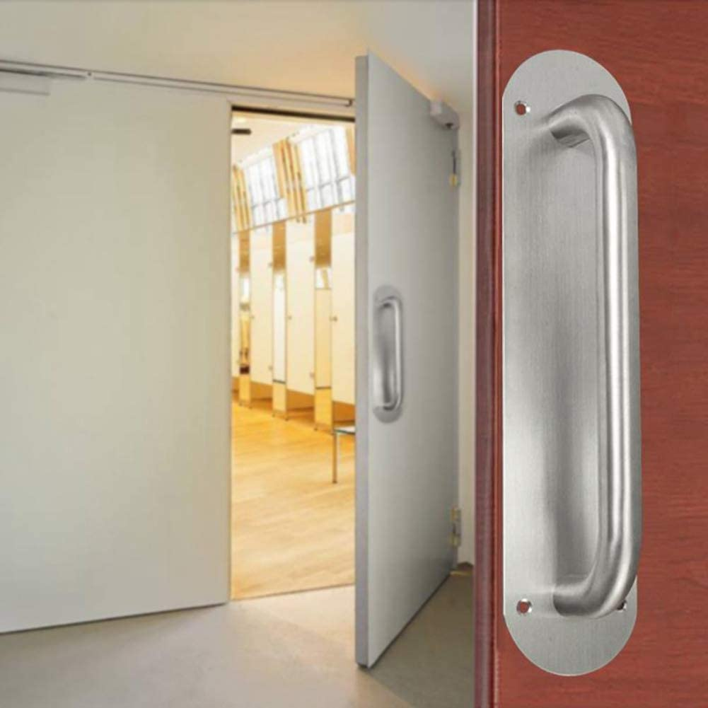 Tirador de puerta de acero inoxidable Pull and Push Plate Pomo para puerta de cocina, restaurante, bar, negocios, Place con tornillos Oval L: Amazon.es: Hogar