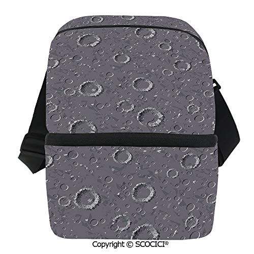 SCOCICI Collapsible Cooler Bag Surface of an Asteroid Planet Pattern with Huge Crater Spots and Circles Universe Theme Insulated Soft Lunch Leakproof Cooler Bag for Camping,Picnic,BBQ -