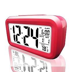 Digital Alarm Clock, eBoTrade LCD Morning Clock with Calendar Thermometer Large Display Smart Nightlight Soft Light Snooze Sleep Backligh (Pink)