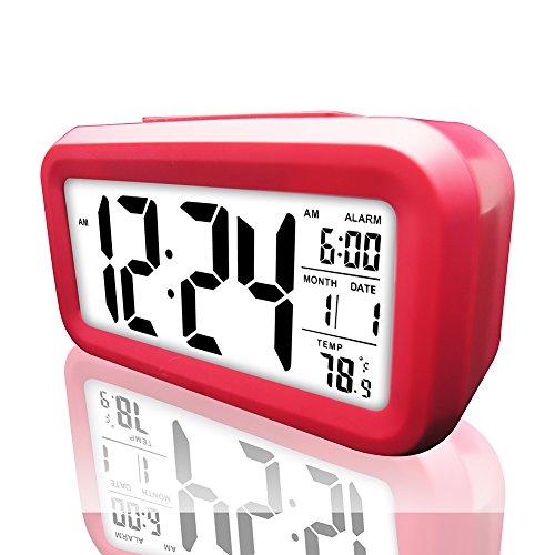 Digital Alarm Clock, eBoTrade LCD Morning Clock with Calendar Thermometer Large Display Smart Nightlight Soft Light Snooze Sleep Backligh ()