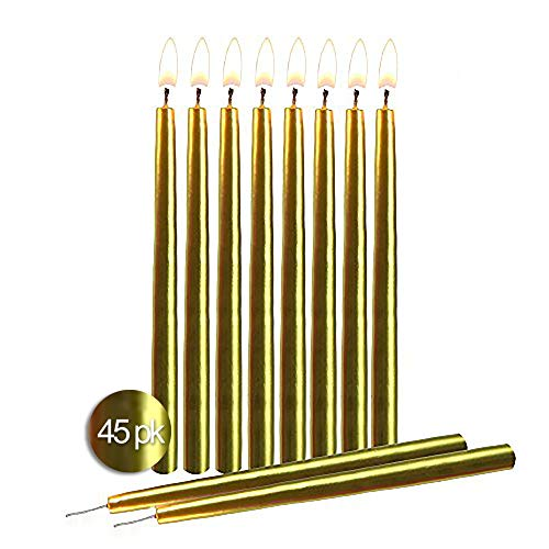 Gold Birthday Candles 45 Pack - Dripless Decorating Candle for Centerpiece Holders, Cakes and Parties - Elegant Taper Design, 5.5