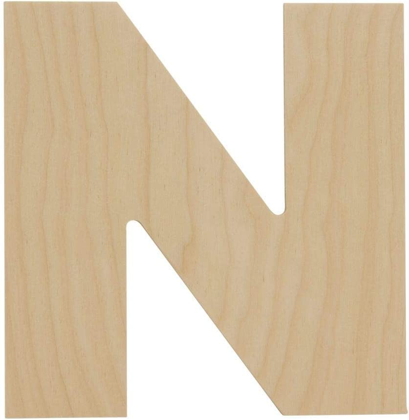 Wooden Letters - N - Unfinished 12 x 10 Inch Decorative Craft Monogram for Wedding Parties and Home Décor with Tool Free Adhesive Foam Squares for Hanging - by Woodpeckers