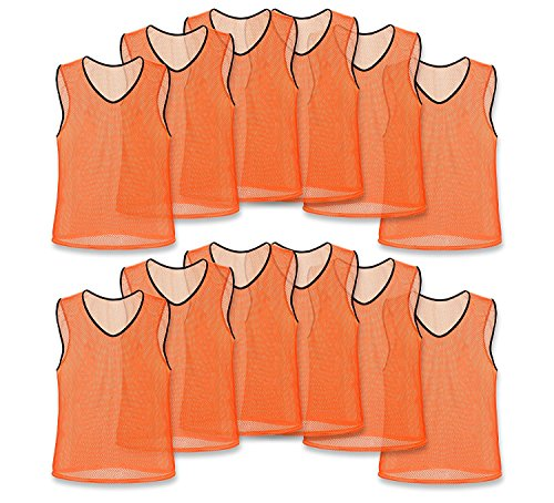 Youth Mesh Scrimmage Vest - Nylon Mesh Scrimmage Team Practice Vests Pinnies Jerseys for Children Youth Sports Basketball, Soccer, Football, Volleyball (Orange, Youth)