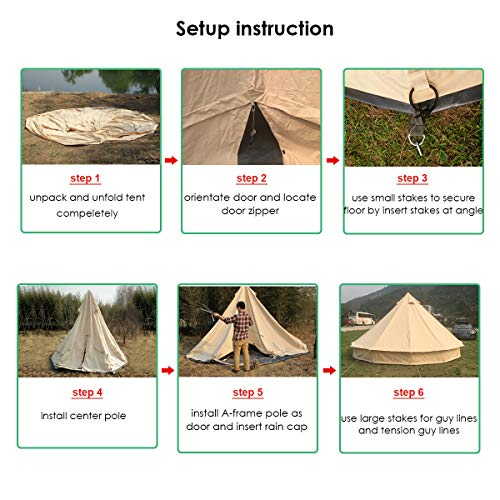 PlayDo 5M/16.4FT 4-Season Heavy Duty Waterproof Cotton Canvas Bell Tent Large Family Camping Tent with Top Stove Jacket Hole and 2 Doors