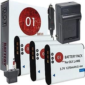 3x DOT-01 Brand Olympus LI-92B Batteries and Charger for Olympus TG-4 iHS Camera and Olympus TG4 iHS Battery and Charger Bundle for Olympus LI92B LI-92B LI90B LI-90B