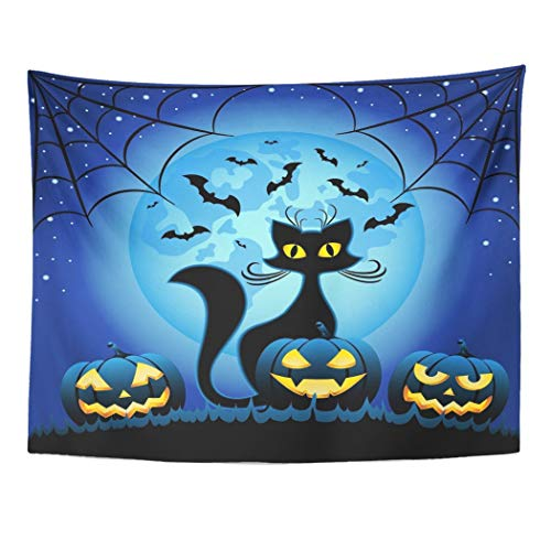 Tarolo Decor Wall Tapestry Yellow Eyes Cat and Halloween Pumpkins Against Full Moon at Night Face Magic 80 x 60 Inches Wall Hanging Picnic for Bedroom Living Room -