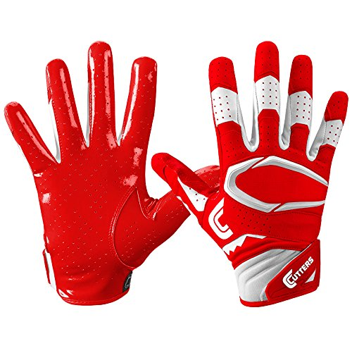Cutters Gloves S451 Rev Pro 2.0 Receiver Football Gloves with Sticky C-Tack Grip, Red/White, Adult S (Cutter Grip)
