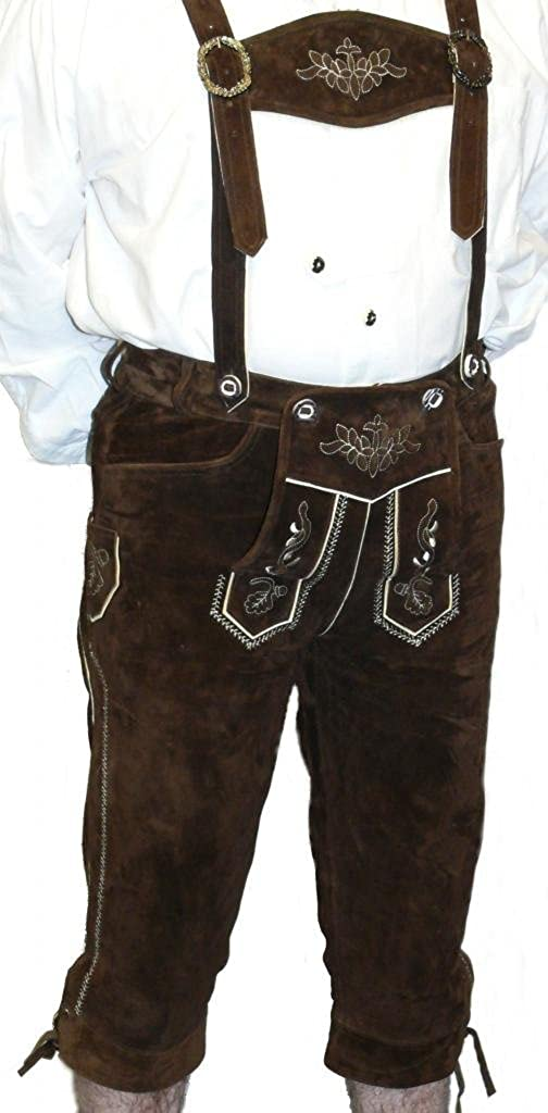 2-Piece Leather German Oktoberfest Lederhosen Shorts Pants Brown