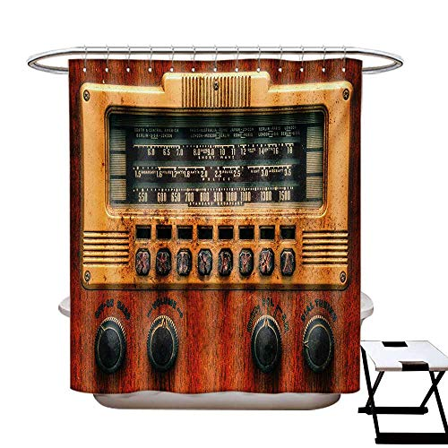 Vintage Shower Curtains Fabric Extra Long Retro Antique Ancient Radio Music Player Enjoyment Holiday Theme Artwork Print Bathroom Set Hooks W72 x L96 Brown Ecru