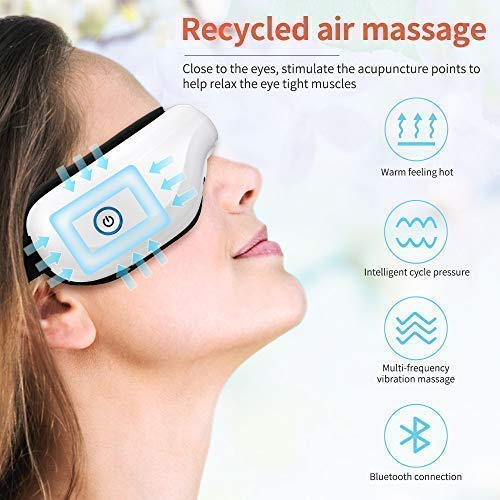 Bromose Wireless Foldable Rechargeable Eye Massager,Intelligent Mode One-Click Operation Eye Massager,Wireless Bluetooth Music Therapy Stress Relief for Eye Care BestGift