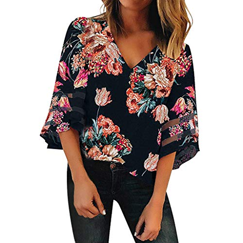 (ALLYOUNG Women's V Neck Print Mesh Panel Blouse 3/7 Bell Sleeve Loose Top Comfortable Shirt Navy)