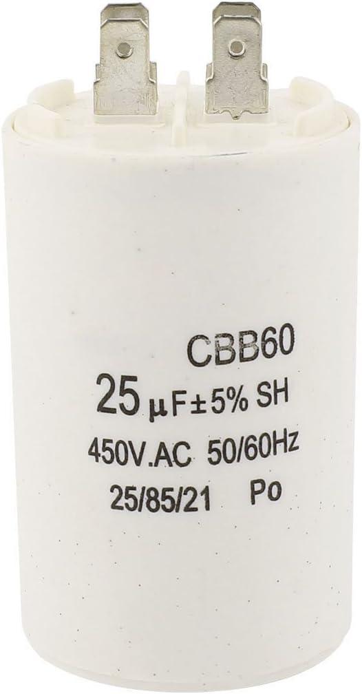 Condensador - SODIAL(R) CBB60 25uF 450VAC AC Condensador de funcionamiento del motor para lavadora
