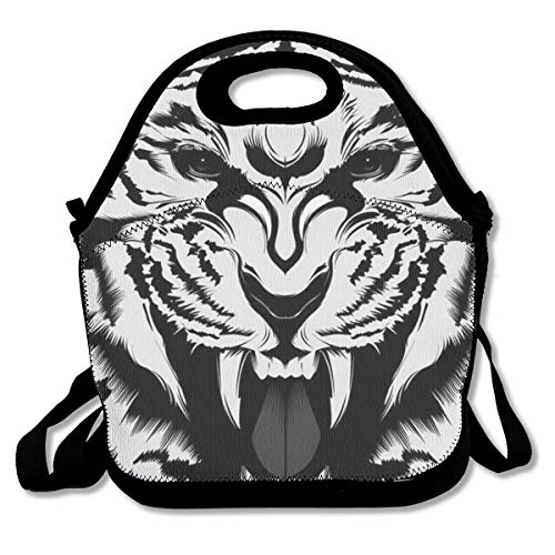 - YongColer Premium Thermal Neoprene Insulated Lunch Bag | School Lunch Box for Boys, Girls, Kids Compact Lunch Pouch Totebag for Picnic Work, Meal Prep (Fierce Tiger King Black White)