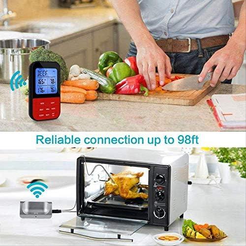 Nobranded Drahtloses ferngesteuertes Küchen-Fleisch-Thermometer, Zwei Sonden für den Rauchergrillofen Voreingestellte Temperatur Fernsteuerung Sofortles-Thermometer