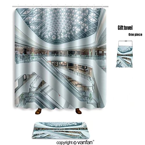 vanfan bath sets with Polyester rugs and shower curtain interior of modern shopping mall 343794929 shower curtains sets bathroom 72 x 92 inches&31.5 x 19.7 inches(Free 1 towel and 12 - Mall Capecod